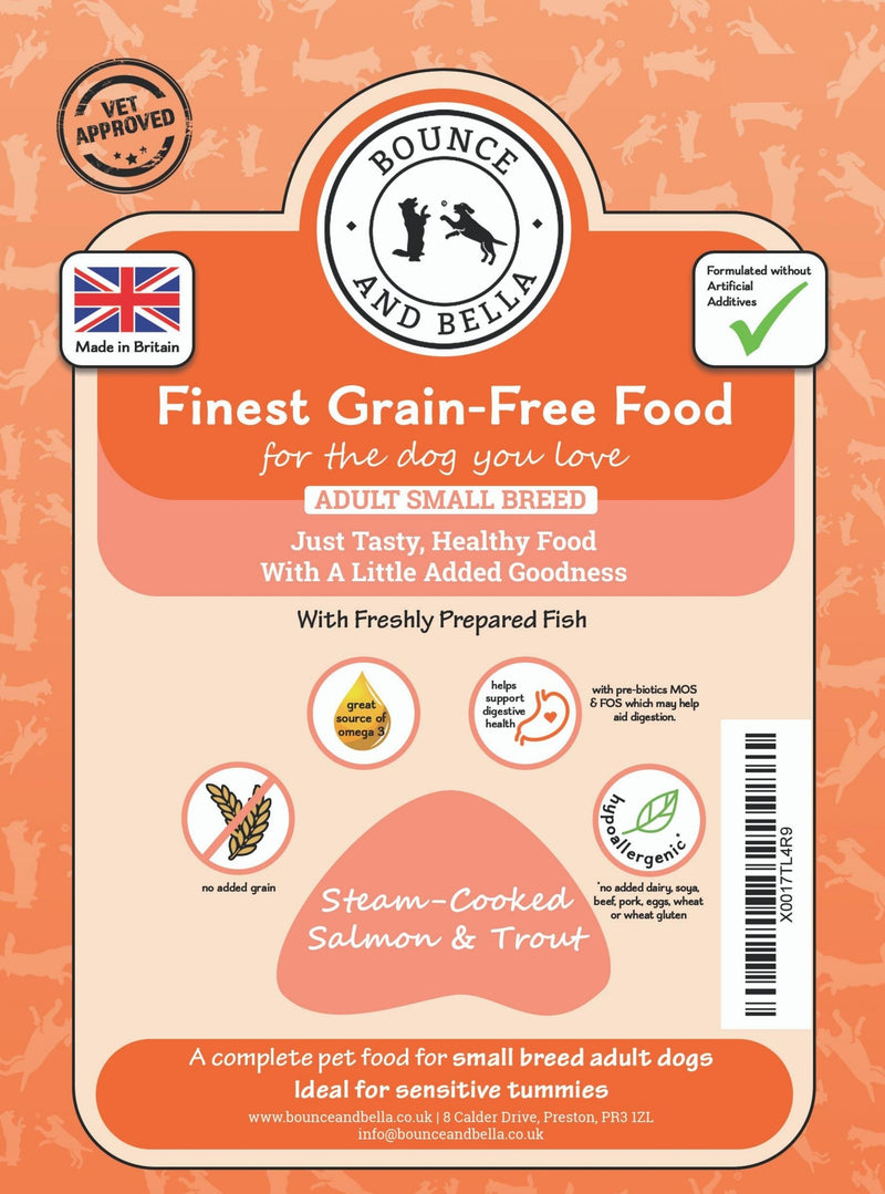 SMALL BREED - Steam Cooked Salmon and Trout with Veg - Complete Grain Free Dog Food
