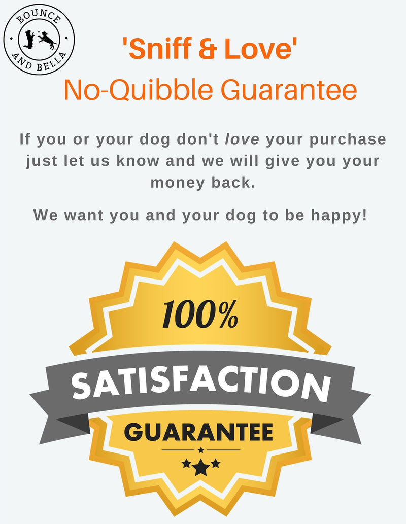 Beef Nibbles: An infographic highlighting Bounce and Bella's 100% No Quibble Guarantee.