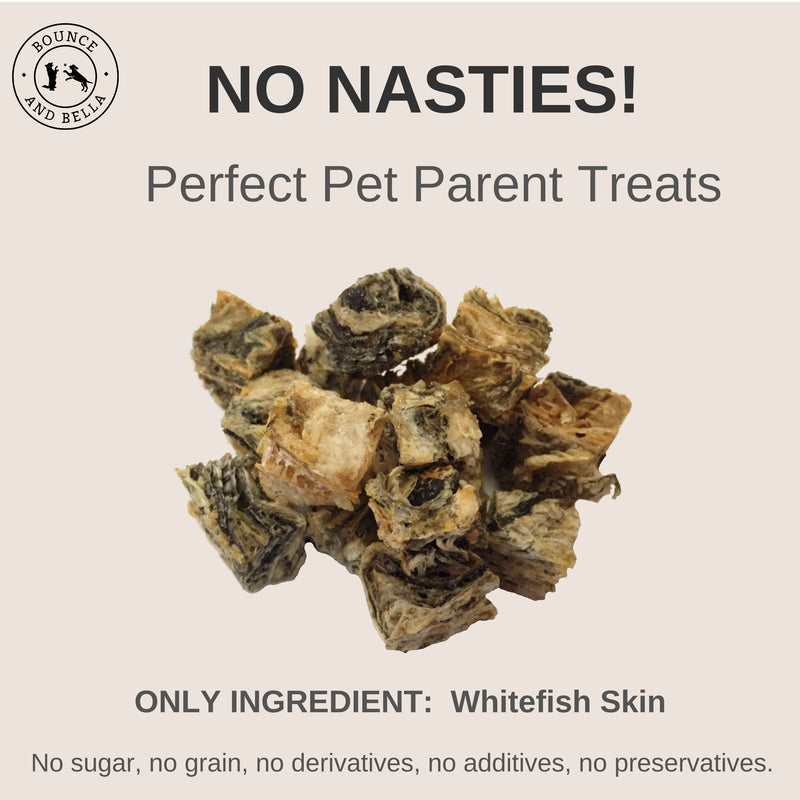 An Infographic, at the centre, is a pile of Fish Skins. Surrounding the nibbles is text stating: No Nasties! Perfect Puppy Treats! Only Ingredient: Whitefish Skin! No Sugar, No Grain, No Derivatives, No Additives, No Preservatives.