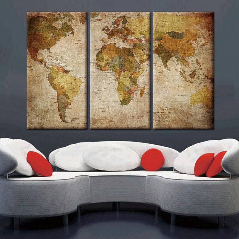 Vintage 3 Piece World Map Canvas Wall Art Pivotal Canvas