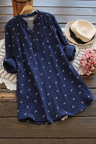 Wild Print Long Sleeve Shirt Dress