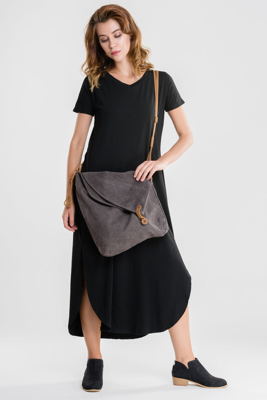 Leather Trimmed Canvas Shoulder Bag