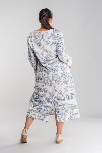 Blue Japanese Porcelain Print Dress