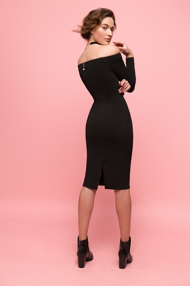 Ksusha Bardot Midi Bodycon Dress