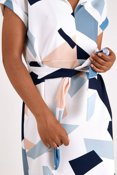 Pencil Dress with Geometric Print