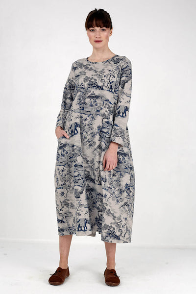 Japanese Porcelain Print Dress