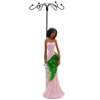 Jewelry Holder - Pink and Green African Figure