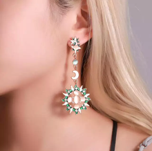 Sun Moon and Stars Green Gold and White Earrings