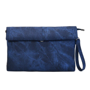 "MADELYN BLAIR ""The Classic"" Roll Up Clutch- Deep Blue Peony Blue"