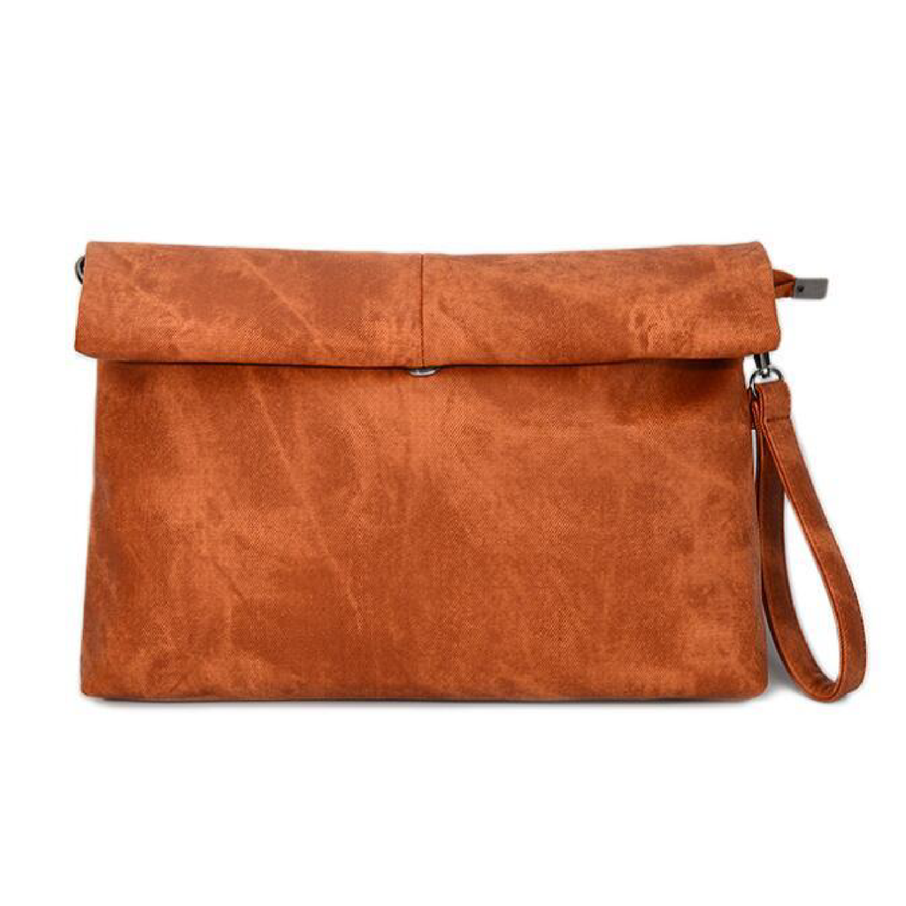 "MADELYN BLAIR ""The Classic"" Roll Up Clutch- Camel Brown"