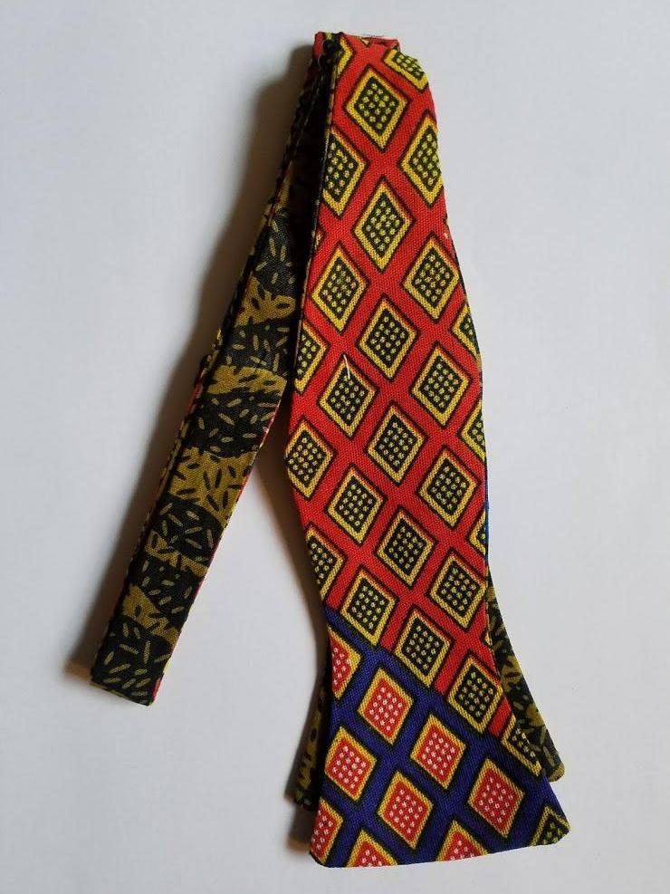 Red/Black/Blue Hues Adjustable Self Tie Bowties - Made in Africa