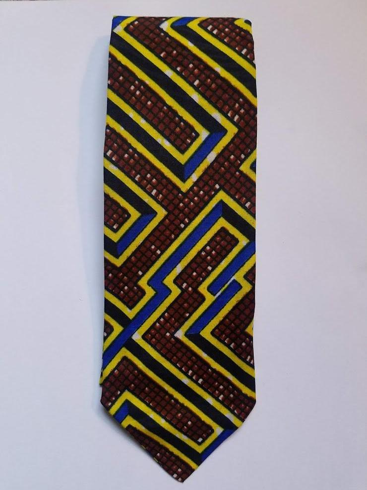 Blue/Black/Brown Hues Ethiopian Necktie - Made in Africa