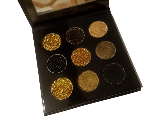 """Steel City Girl"" Black and Gold 9Pc Eyeshadow Palette"