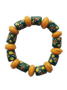Green White and Yellow Bella Africa Bracelet