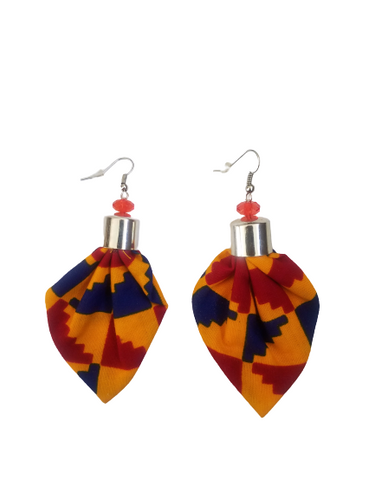 Kente Yellow Blue and Red Bella Africa Earrings