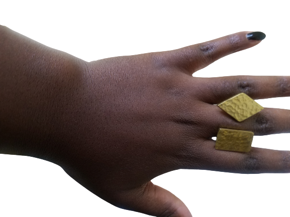 Made in Uganda Brass Double Geometric Adjustable Ring