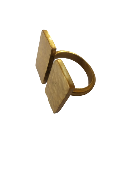 Made in Uganda Brass Double Rectangle Shaped Adjustable Ring