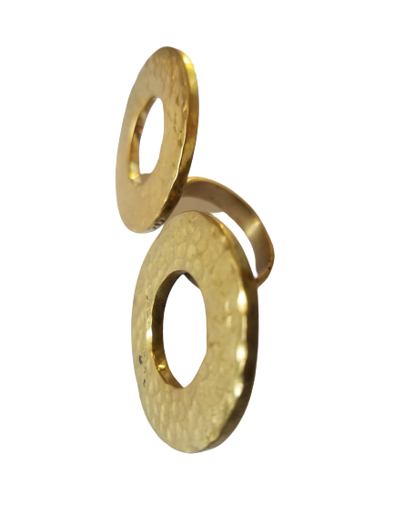 Made in Uganda Brass Double Circle Shaped Adjustable Ring
