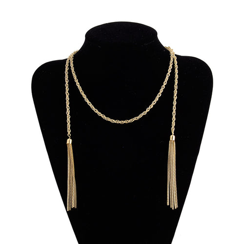AJS Golden Goddess Tassel Necklace