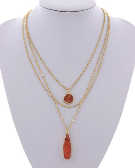 Coral Faux Druzy Layered Necklace