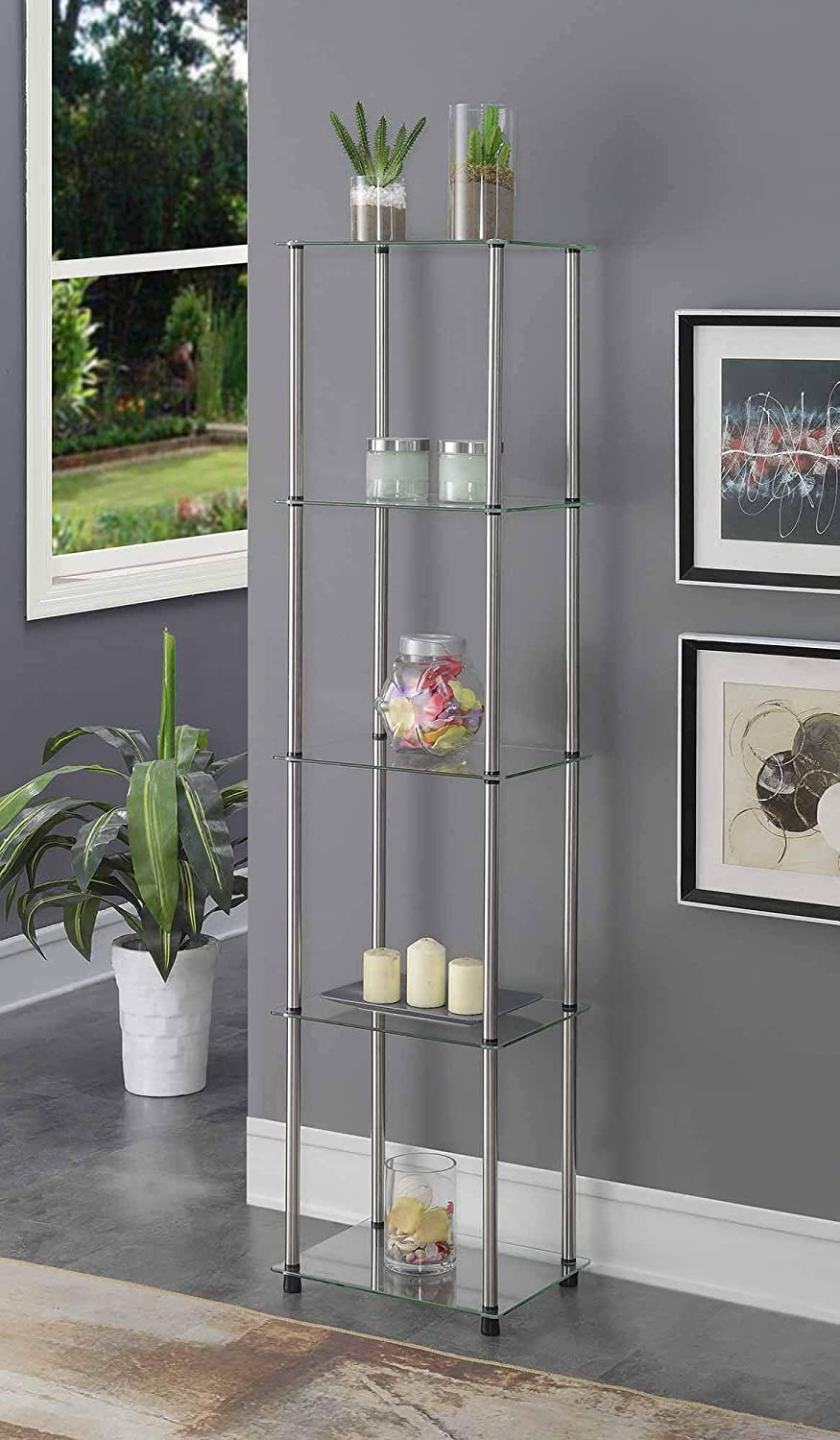 Convenience Concepts Designs2Go Classic Glass 5 Tier Glass Tower, Glass