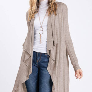 Almond Waterfall Hooded Cardigan