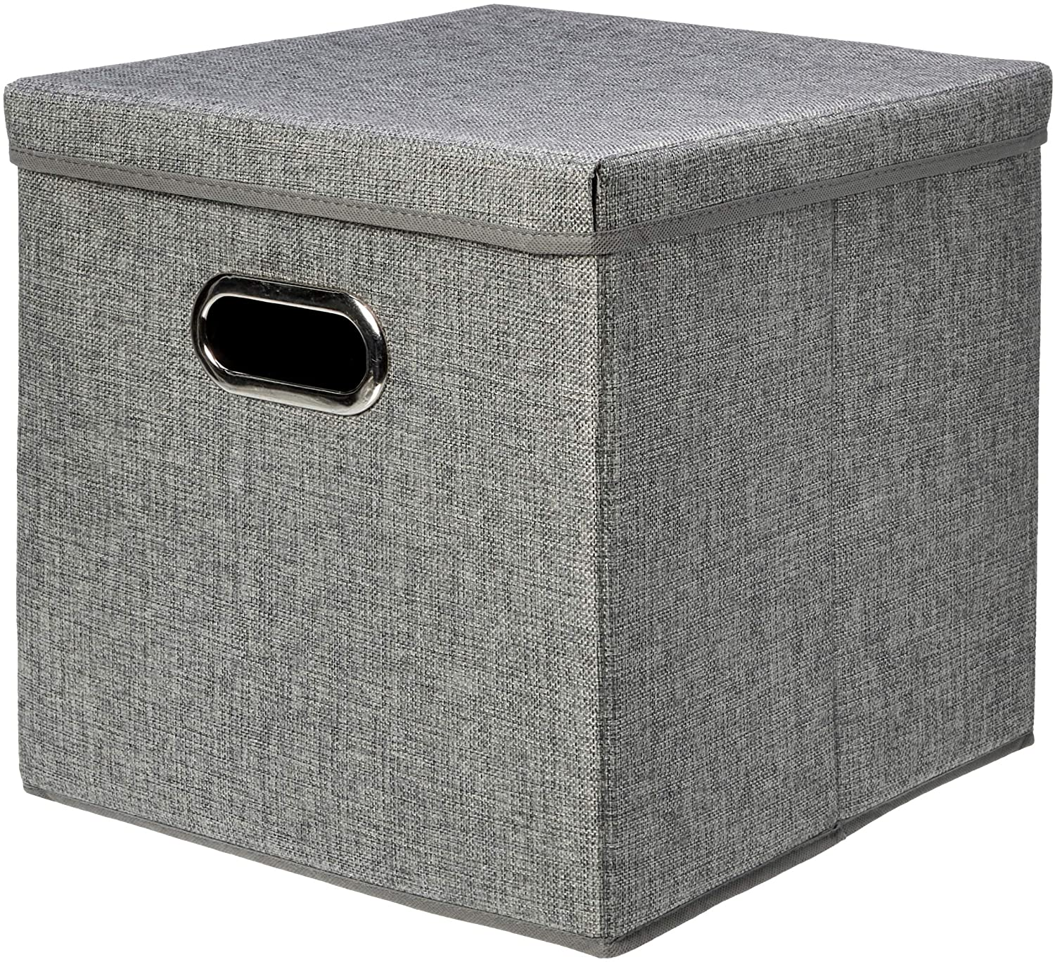 AmazonBasics Foldable Burlap Cloth Cube Storage Bin with Lid, Set of 2