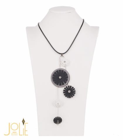 AMMA JO BELLISSIMO Faux Leather Pendant Necklace Black White