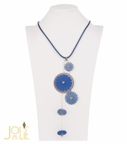 AMMA JO BELLISSIMO Faux Leather Pendant Necklace Blue Silver