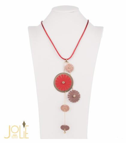 AMMA JO BELLISSIMO Faux Leather Pendant Necklace Red Gold