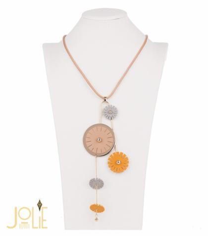 AMMA JO BELLISSIMO Faux Leather Pendant Necklace Yellow Gold