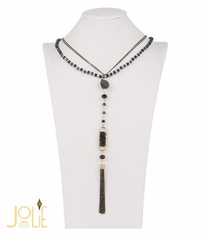 AMMA JO BELLISSIMO Pendant Stone Necklace Black