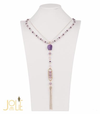 AMMA JO BELLISSIMO Pendant Stone Necklace Purple