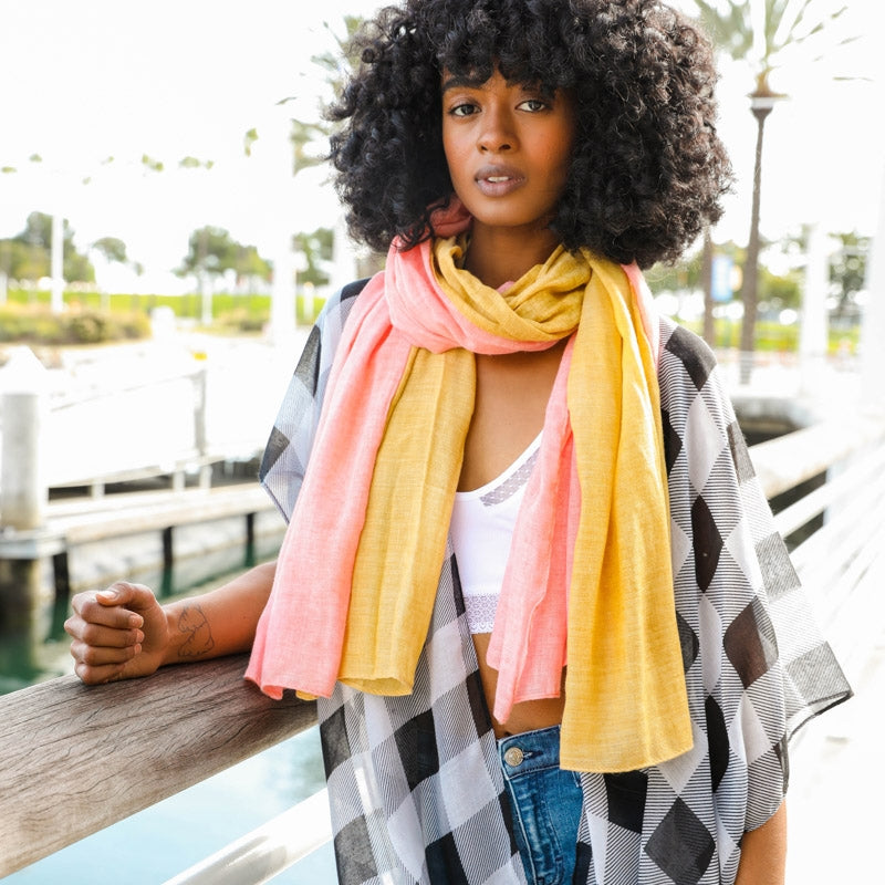 Color Blocked Spring Scarf - Mustard Yellow and Coral