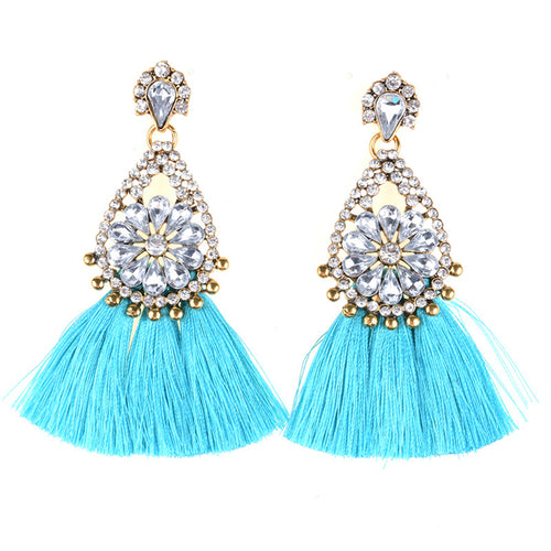 AJS Baby Blue Tassel and Rhinestone Earrings