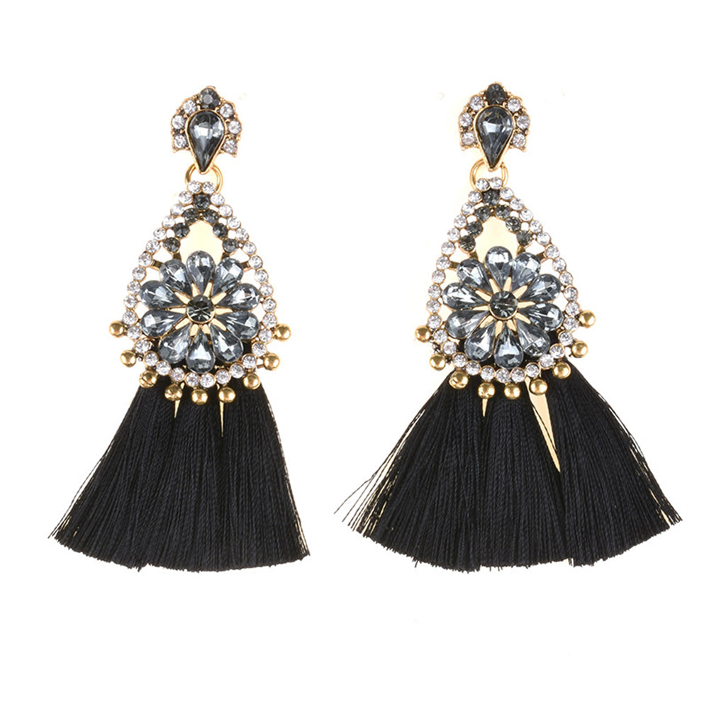 AJS Black Tassel and Rhinestone Earrings