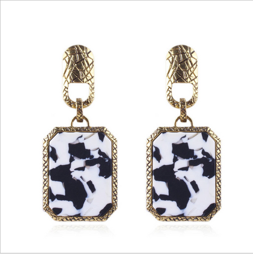 AJS Speckled Princess Black and White Earrings