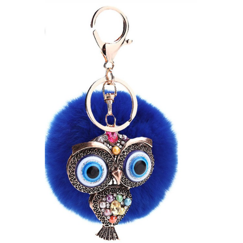 Fur and Rhinestone Owl Key Chain- Blue