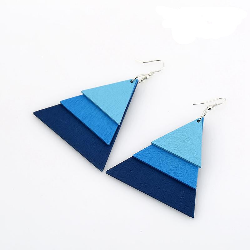 AJS Geometric Blue Triangle Shaped Earrings