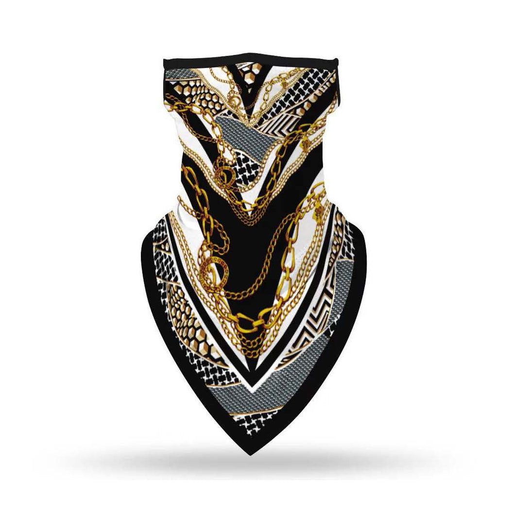 Black White and Gold Classic Chain Print Bandana Scarf Mask