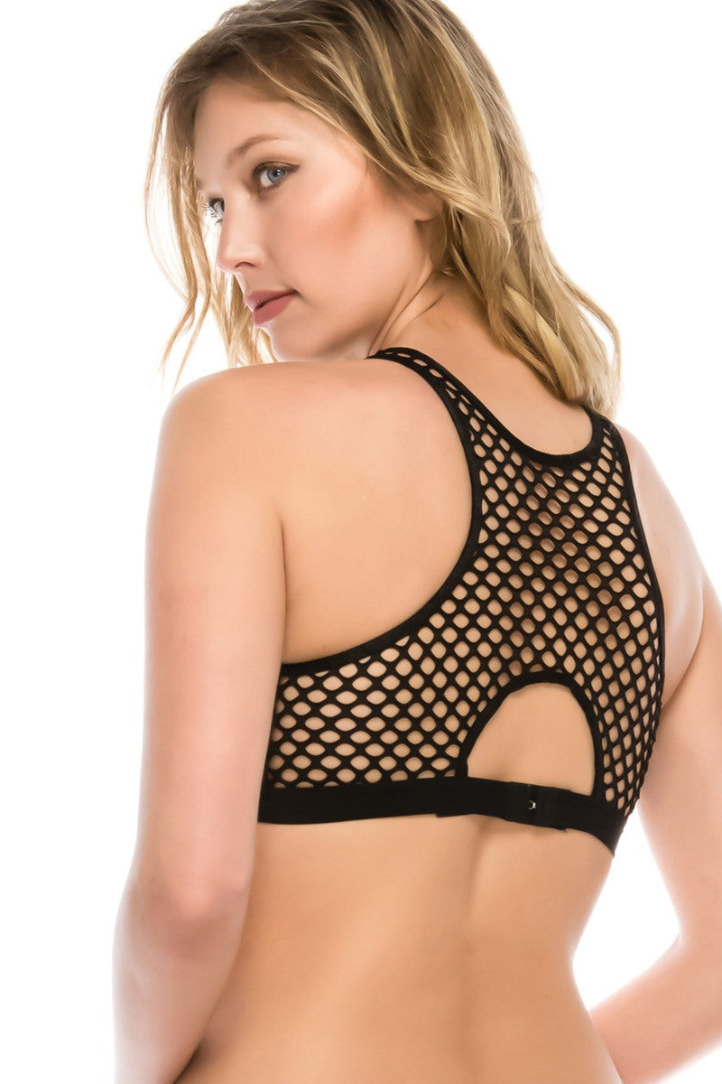 Ladies high-neck fishnet bralette