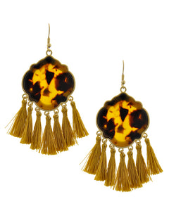 Cheetah Station Tortoise Dangling Tassel Earrings