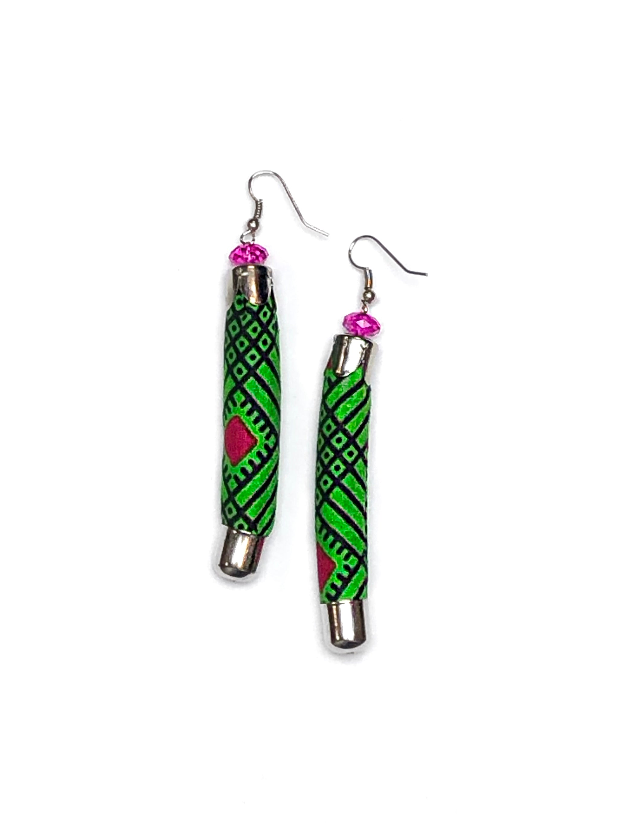 Green Geometric Bella Africa Earrings
