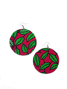 Pink Leaf Circle Bella Africa Earrings