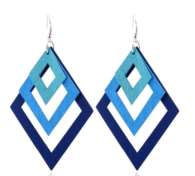 AJS Geometric Blue Diamond Shaped Earrings