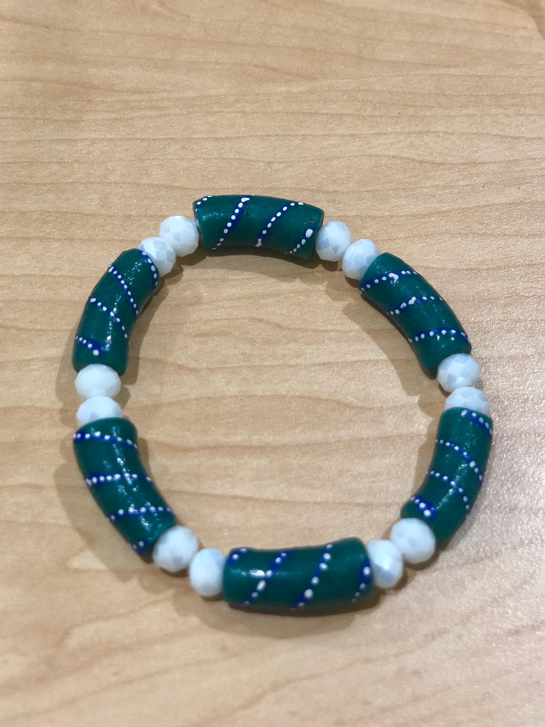 White and Teal Bella Bracelet