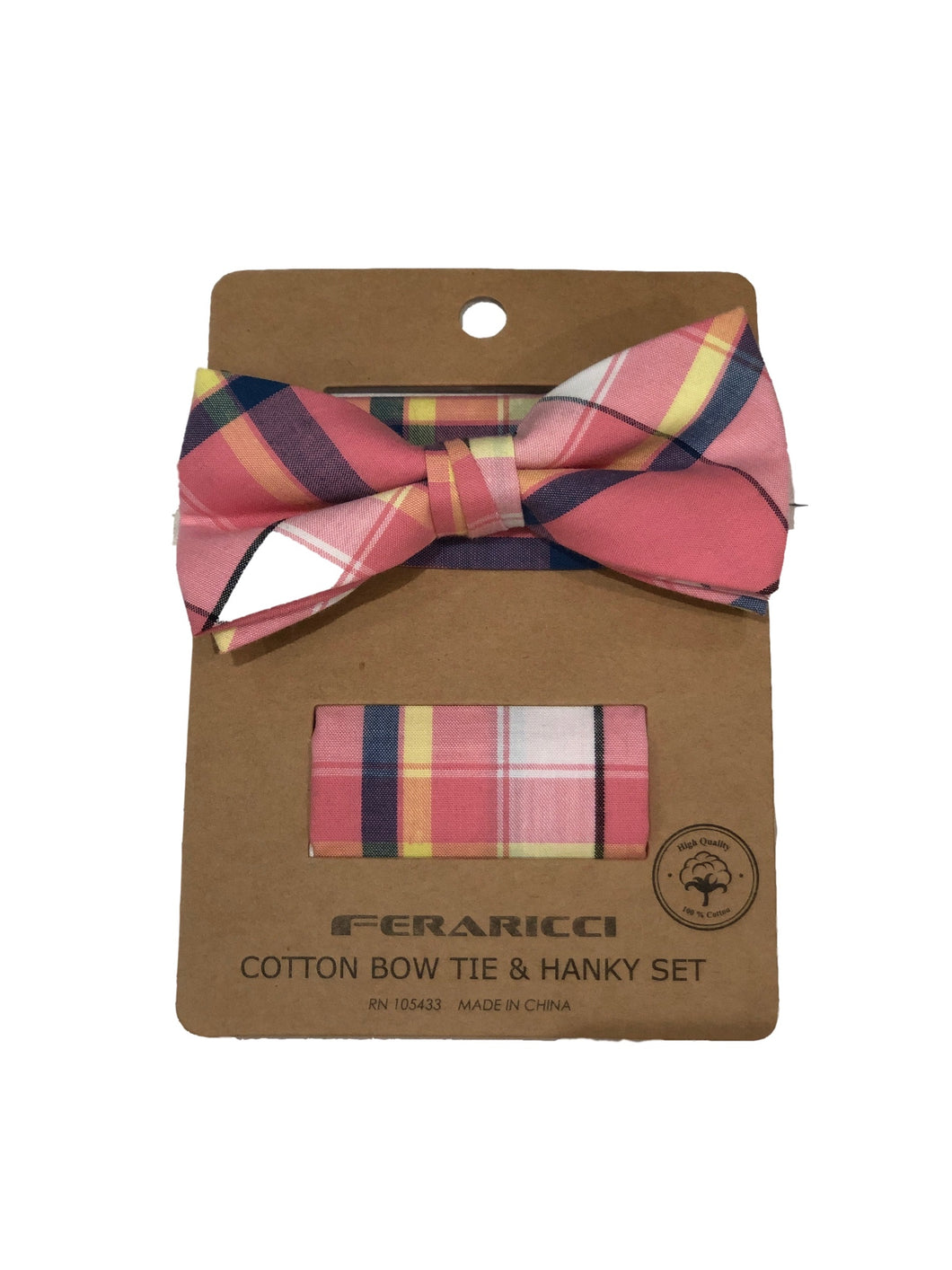 Pink Plaid Tie Set