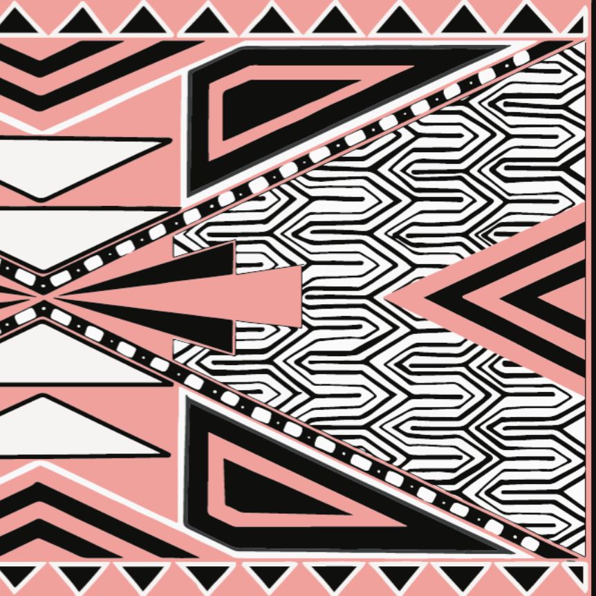 Spring Scarf - Pink Black and White Aztec Them