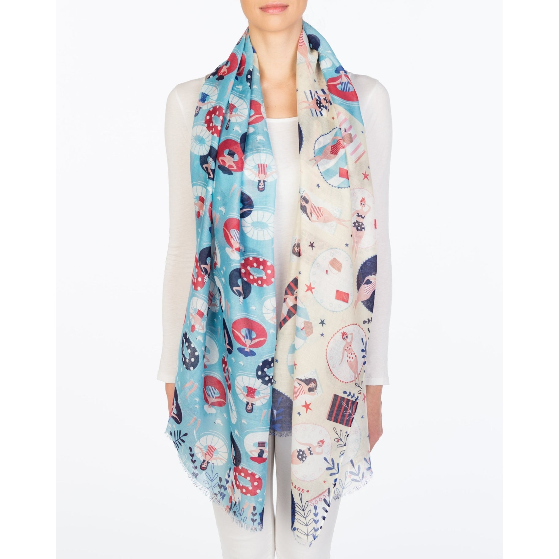 Spring Scarf - Blue Poolside Theme