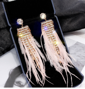 Pink Feather and Rhinestone Earrings